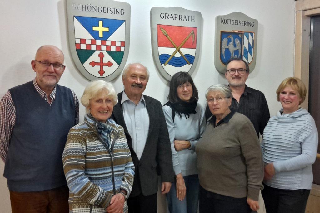 von links: Herman Eßer, Martha Braunmüller, Klaus Nerlich, Liselotte Orthmann, Bärbel Ebert, Markus Weimann, Susanne Ruf